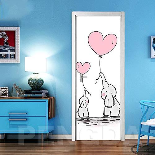 QHOXAI Stickers Muraux Éléphant Animal De Dessin Animé Art Vinyle Porte Autocollants Peintures Murales De Papier Peint pour Chambre Salle De Bain Cuisine Chambre d'enfant Amovibles Affiches 77X200Cm