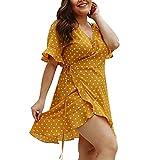 COZOCO Vestido Informal de Las Mujeres Vestido con Ola de Cuello Redondo Suelto Deportivo Vestido de Carnaval Vestido de Gran Tamaño de Vacaciones(Amarillo,XL)