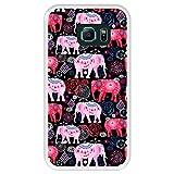 Hapdey Coque pour [ Samsung Galaxy S6 Edge ] Dessin [ Motif Lumineux de Beaux éléphants Roses et...
