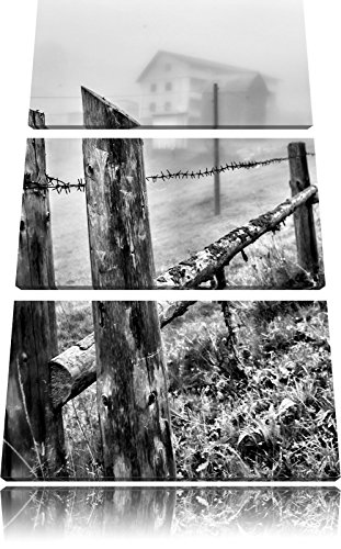 Houten omheining op weideFoto Canvas 3 deel | Maat: 120x80 cm | Wanddecoraties | Kunstdruk | Volledig gemonteerd