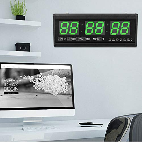 Reloj digital LED de pared moderno grande con pantalla de datos LED, reloj de pared con termómetro, para oficina, dormitorio (verde)