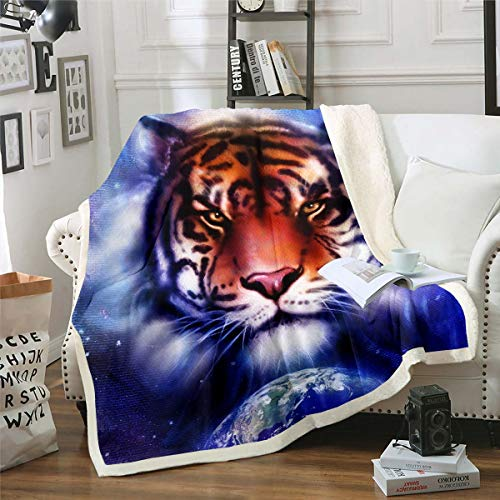 Tiger Sherpa Throw Blanket Wild Animal Theme Fleece Blanket Blue Galaxy Earth Planet Print Plush Blanket for Bed Sofa Couch Wildlife Style Fuzzy Blanket Room Decor King 87'*94'