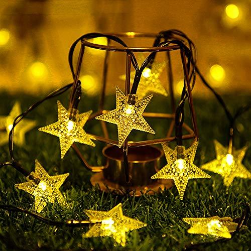 Guirnalda Luces Exterior Solar, 12M 100 LED Cadena de Luces Solares Exteriores 8 Modos IP65 Impermeable Decoración para Navidad, Fiestas, Bodas, Patio, Jardín, Festivales (Blanco Cálido)
