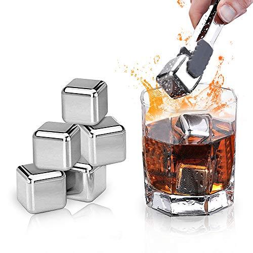 JUCJET Piedras de cubitos de hielo para whisky, 8 cubitos de hielo reutilizables con grabado, apto para alimentos, piedras de enfriamiento rápido