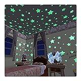 AMOYER 100pcs Brillan En La Oscuridad Estrellas Pegatinas De Plástico Bebé Niños Pared De Techo