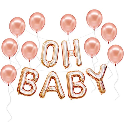 RoseGold OH BABY Balloons for Baby Shower Decorations - 16 Inch | OH BABY Balloon Large for Gender Reveal Party Supplies | Rose Gold Baby Shower Balloons for Girls | OH BABY Welcome Home Baby Girl