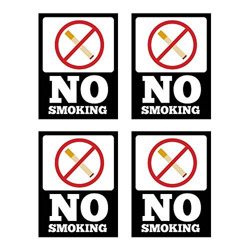 (4Stück) nicht rauchen Vinyl Aufkleber Zeichen, 17,8x 25,4cm, klar und sichtbar Text, für Innen- oder Außeneinsatz, Keep your Standort Smoke gratis. Ideal für Zuhause, Büro, Restaurant. schwarz
