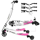 Y Flicker Scooter for Kids Ages 5-8, 3-Level Adjustable Height Swing Wiggle Scooter Foldable Kick Speeder Drifter for Boys and Girls