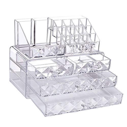 CZXKJ Organizador de Caja de joyería Joyas de Patrones de Diamante y Cajas de visualización de Almacenamiento cosmético