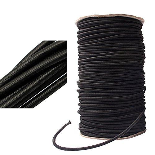 Elastische Kordel, zur Schmuckherstellung, Handtaschen, Zelte, ø 2–12 mm, Schwarz , 3MM x 5Meters