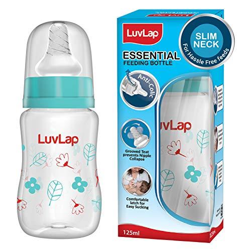 LuvLap Anti-Colic Slim / Regular Neck Essential Baby Feeding Bottle, 125ml, New Born / Infants / Toddler upto 3 years, Wild Flowers, BPA Free