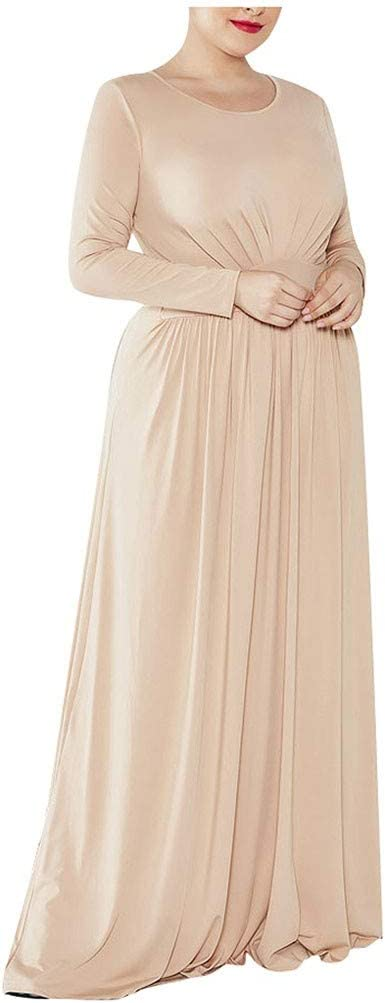 YOMXL Women 2021 Casual Longs Sleeve Round Outlet sale feature Large Sexy Dress Neck Size