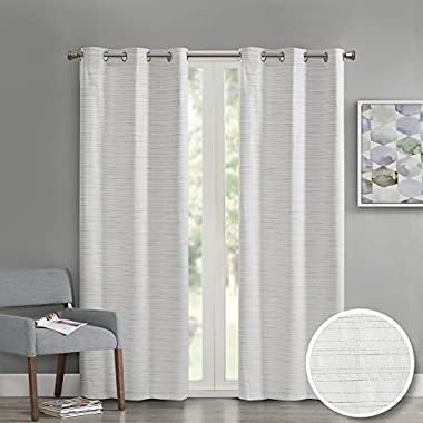 Comfort Spaces - Grasscloth Window Curtain Pair/Set of 2 Panels - White - 40x95 inch panel - Foamback - Energy Efficient Saving- Grommet Top - 2 Pieces