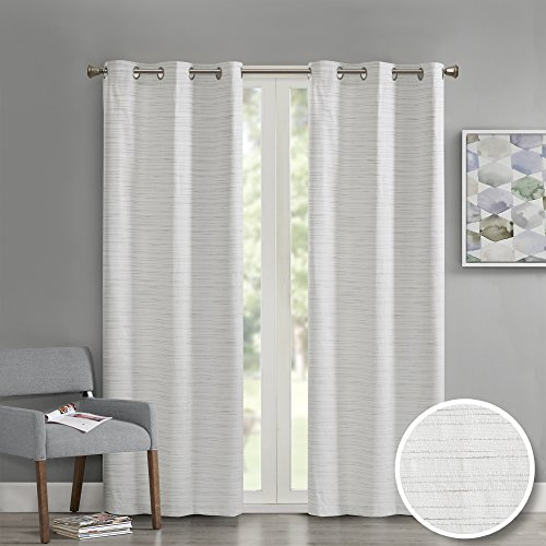 """Comfort Spaces Grasscloth Blackout Window Curtain Pair / 2 Pieces Panels Grommet Top Energy Efficient Saving Drapes for Living Room Bedroom and Dorm, 40"""" W x 84"""" L, White"""