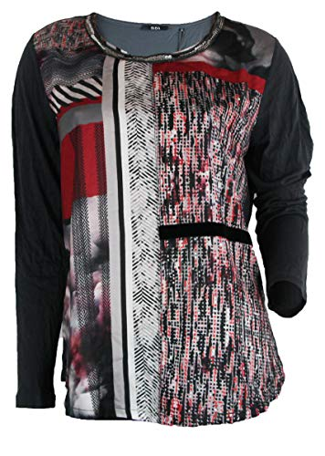 BIBA Damen Pullover Shirt Bluse grau rot (L)
