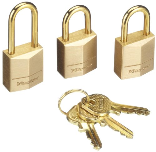MASTER LOCK 3115EURD Set of 3 Padlocks 15 mm Full Brass Shackle of 10 mm (Best Lock Pick Set Uk)