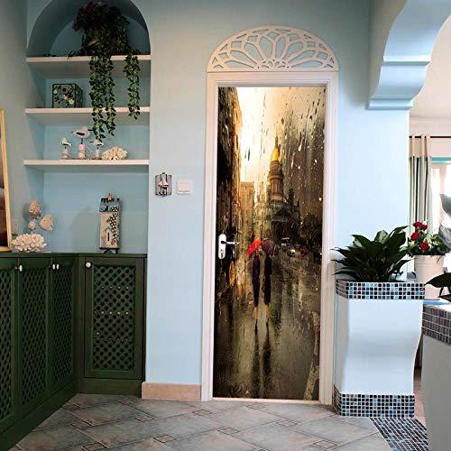 BXZGDJY 3D-deur-wandsticker, glazen druppels, 3D-deursticker-uitgang, decoratie, deur-wand-papier-wandfoto, Pvc-waterdichte zelfklevende schaal en stok-deur, wandbehang, kunst-decoratieve wand-aftrekbi 80X200CM