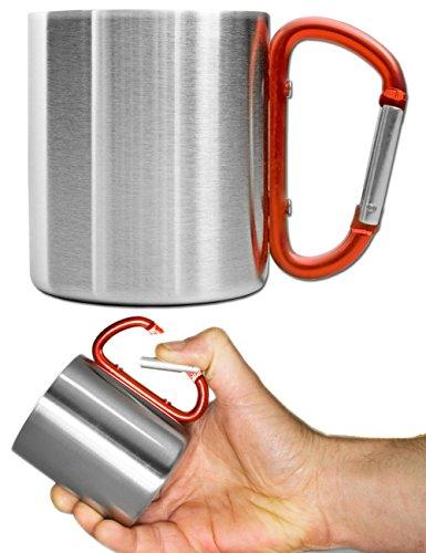 Outdoor Saxx® - Camping-Tasse, Outdoor-Becher, Metall-Becher, 250 ml mit geschraubtem Karabiner-Griff, Edelstahl, Wandern, Trekking, Arbeit, rot