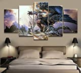 Home Decor Modular Canvas Picture 5 Piece Monster Hunter Game Painting Poster Wall Art for Home Decoration,A,20×35×2+20×45×2+20×55×1