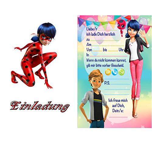 TV-24 Miraculous Ladybug Einladungskarten 12er Set inkl. 12 Umschläge 10 D