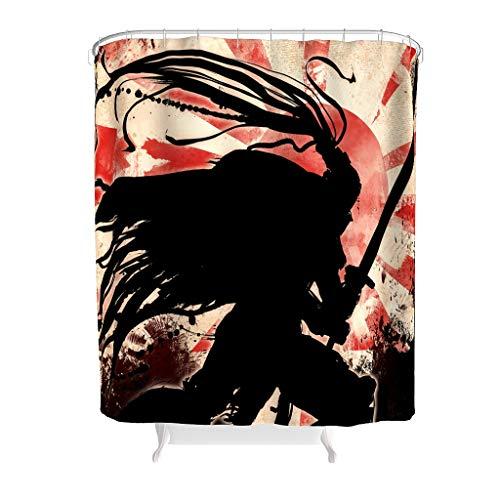 Charzee douchegordijn Swordsman Warrior patroon waterafstotend gordijn badkamergordijn met incl. douchegordijnringen