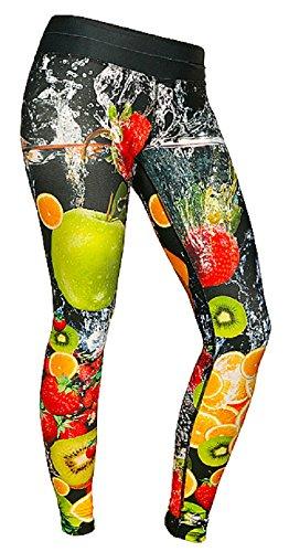 FeelJ! Damen Leggins Fruits long, Multicolor, M, FJ5902349671925