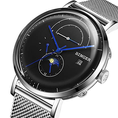 Binger Schweiz Automatische Herrenuhr mechanische Uhr männlich Saphir Japan Bewegung Edelstahlarmband mit Mondphase, vollständiger Kalender 8610M,Black