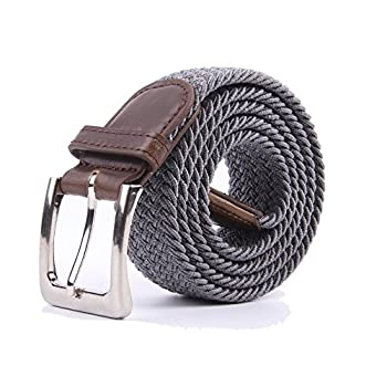Canvas Elastic Fabric Woven Stretch Multicolored Braided Belts 2041-Grey-S