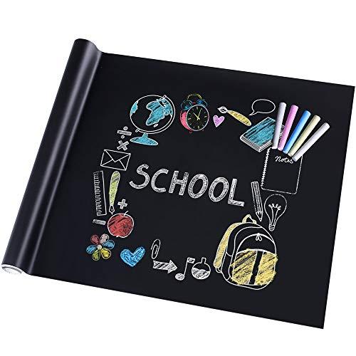rabbitgoo Tafelfolie Selbstklebend Kreidetafel Kinder Blackboard Folie DIY Aufkleber für Schule Zuhause und Büro mit 5 x Kreide Schwarz 44.5 x 200cm
