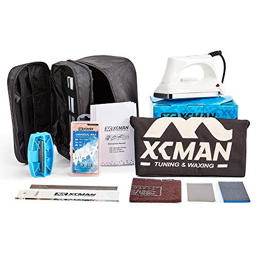 XCMAN Complete Ski Snowboard Tuning and Waxing Kit with Waxing Iron,Universal Wax,Edge Tuner,PTEX...