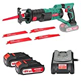 Best Reciprocating Saws - Reciprocating Saw, HYCHIKA 18V Cordless Saw with 2x2000mAh Review