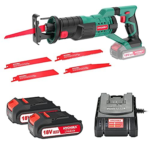 Reciprocating Saw, HYCHIKA 18V Cordless Saw with 2x2000mAh Batteries,...