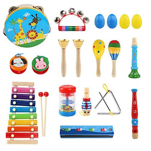 LEADSTAR Strumenti Musicali per Bambini, Set Strumenti Musicali Percussioni Giocattolos in Legno, Giochi Musicali per Bambini, Regali di Compleanno