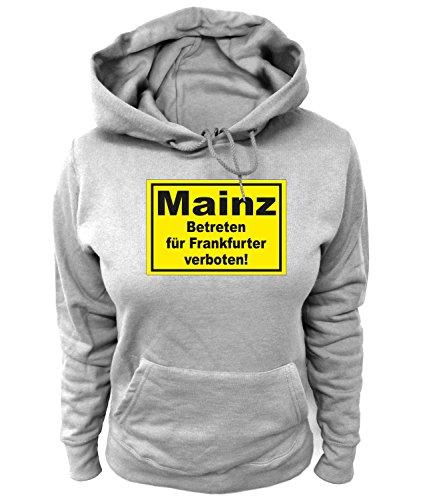 Artdiktat Damen Hoodie Mainz - Betreten für Frankfurter verboten Größe L, grau