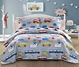 3-Piece Kid's Travel Transportation Lightweight Summer Quilt Set Coverlet with Pillow Sham(Full/Queen 90x90 Inches) Plane,Car,Taxi,Bus,Reversible Bedspread Bedding Set for Boys(Full/Queen,Yellow)