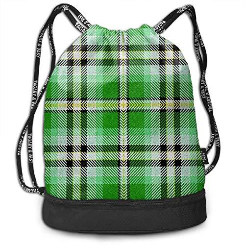 PmseK Turnbeutel Sportbeutel Kordelzug Rucksack, Green Yellow Black Buffalo Plaid Multifunctional Bundle Backpack Shoulder Bag for Men and Women