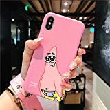Twinlight for iPhone XR Cartoon Mr.Krabs Case Cute Spongebob Case for iPhone X XS XS Max Soft Matte Back Phone Cover + Strap (Pink, for iPhone XR)