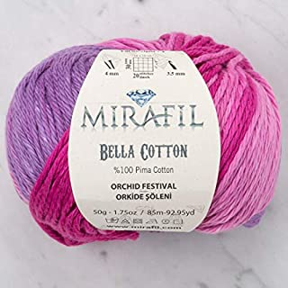 3 Pack Mirafil Bella Cotton, Variegated Colors, 100% Pima Cotton Yarn 50 g (1.76 oz) / 85 m (92 yd), Yarn Weight: 4 : Worsted-Aran (Orchid Festival)