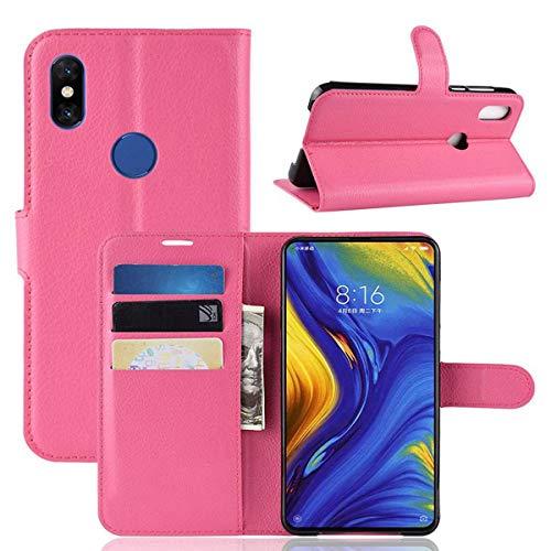 pinlu® Estuche para teléfono de Cuero PU, Utilizado para Xiaomi Mi Mix 3 Estuche para teléfonos Inteligentes con función de Soporte y diseño de Ranura para Tarjeta Rosa roja