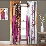 Pug Room - Cortina oscura con diseño de perro con ropa fresca bufanda collar chaqueta bolso con fondo manchado aislado habitación dormitorio cortinas oscurecidas 84 x 84 pulgadas, color rosa