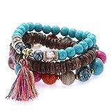 YOYOHOME Boho Bohemian Style Beaded Elastic Elephant boho jewelry hippy Bracelet Set For Women&girl 3Pcs(Bule)