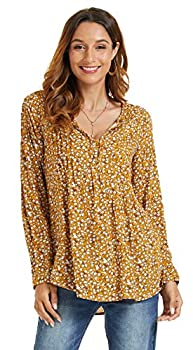 SONJA BETRO Women s Printed Woven Long Sleeve Pintuck Notch Neck Tunic Top Small Marigold