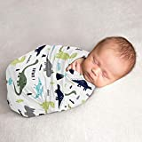 Sweet Jojo Designs Mod Dino Baby Boy Swaddle Blanket Jersey Stretch Knit for Newborn or Infant Receiving Security - Blue, Green and Grey Modern Dinosaur