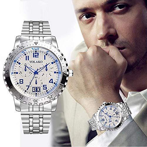 Souarts orologio da polso analogico orologio con cinturino in acciaio INOX color argento bianco 23cm