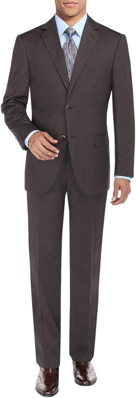 DTI BB Signature Men's Two Button Sharkskin Suit Jacket Modern Fit Blazer Pants