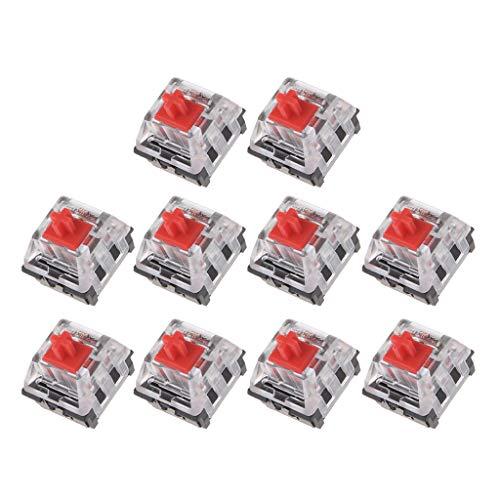 GREEN&RARE 10 interruptores mecánicos de 3 pines rojos para teclado Cherry MX Kit de probador de teclado, perfecto para los amantes del juego.