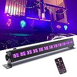Luces Negras UV, UKing 12 LED UV Bar Luz Negra de Etapa 7 Modos Sonido Activado con IR Remoto Control para Fiestas Boda Disco DJ Bar Partido …