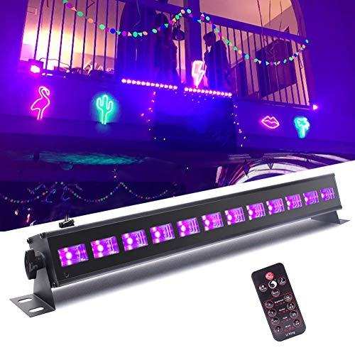 UKing Luce Effetto UV 12 LED X 3W Luce Nera UV Bar con telecomando e DMX 512 Suono Attivato Palcoscenico Llluminazione per DJ Discoteca Bar Festa Matrimonio Compleanni Concerti