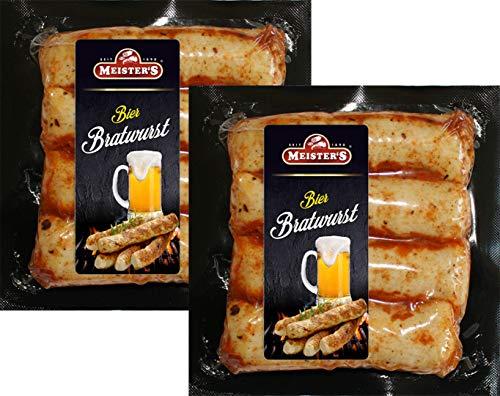 Grillpaket Barbecue Bratwurst ohne Darm | marinierte Bratwürste mit BBQ und Bier Marinade und naturbelassen Wurst zum Grillen Biermarinade 8 x 50g