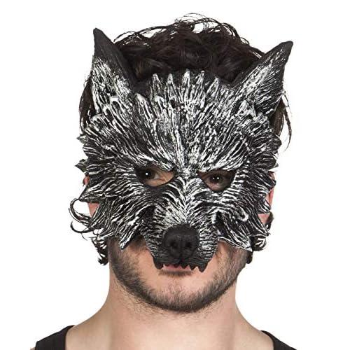 Boland- Maschera Mezzo-Viso Lupo Mannaro Werewolf per Adulti, Grigio, Taglia Unica, 97516